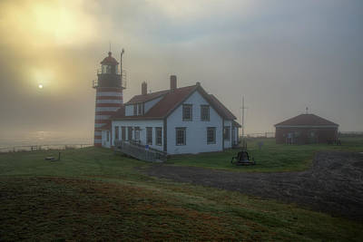 West Quoddy Head Lighthouse Photograph - Foggy Sunrise At Quoddy Head by Tom Weisbrook