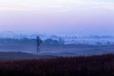 Photograph - Foggy Sunrise In The Flint Hills by Jay Stockhaus