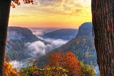 Photograph - Foggy Sunrise Over Letchworth State Park In New York by Jim Vallee