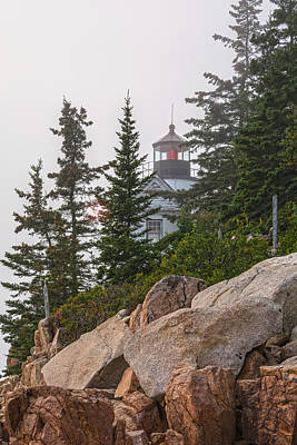 Photograph - Foggy Sunset At Bass Harbor Lighthouse by Angelo Marcialis