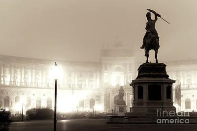 Photograph - Foggy Vienna Night At Heldenplatz by John Rizzuto