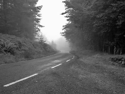Photograph - foggy way  BW by Leif Sohlman