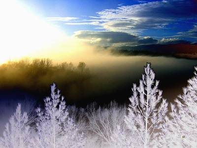 Fog Mist Digital Art - Foggy Winter Sunset by Will Borden