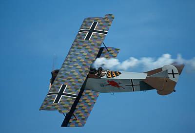 Photograph - Fokker D.vii Trailing Smoke In Flight by John Clark