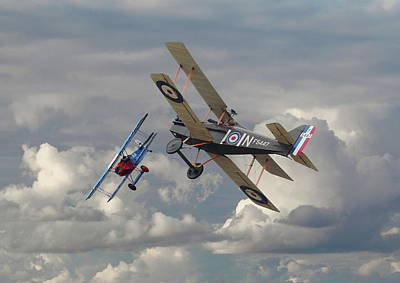Ww1 Digital Art - Fokker Dvll And Se5 Head To Head by Pat Speirs