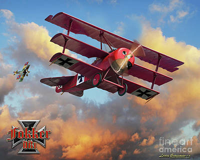 Fokker In A Dog Fight Art Print by Larry Grossman