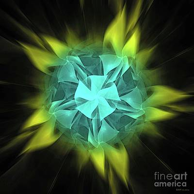 Digital Art - Folding Silk / Aqua / Gold Petals by Elizabeth McTaggart