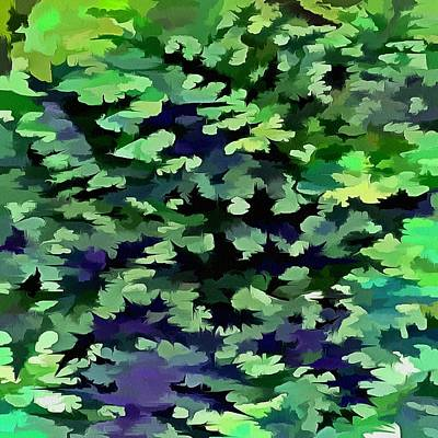 Digital Art - Foliage Abstract Camouflage In Forest Green And Black by Taiche Acrylic Art