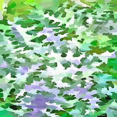 Digital Art - Foliage Abstract In Green And Mauve by Tracey Harrington-Simpson
