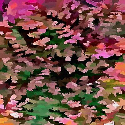 Digital Art - Foliage Abstract In Pink, Peach And Green by Tracey Harrington-Simpson