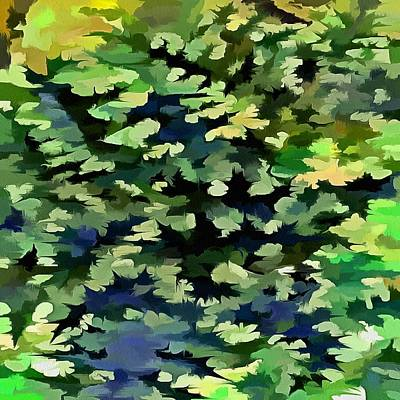 Digital Art - Foliage Abstract Pop Art In Green And Blue by Tracey Harrington-Simpson