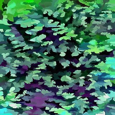 Digital Art - Foliage Abstract Pop Art In Jade Green And Purple by Tracey Harrington-Simpson
