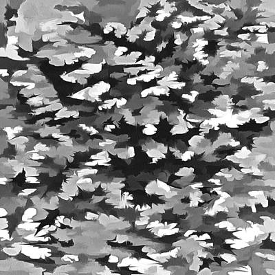 Digital Art - Foliage Abstract Pop Art In Monotone Black And White by Taiche Acrylic Art