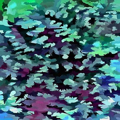 Painting - Foliage Abstract Pop Art In Teal, Blue And Green by Taiche Acrylic Art