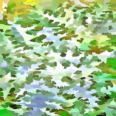 Painting - Foliage Abstract Pop Art In White Green And Powder Blue by Tracey Harrington-Simpson