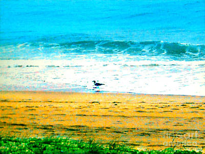 Photograph - Foliage - Beach - Seagull - Waves - Ocean by Merton Allen