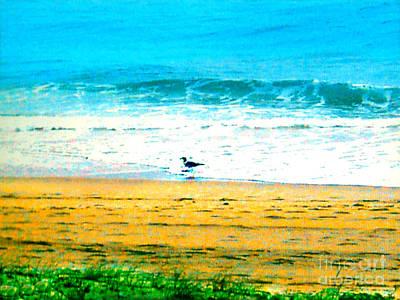 Photograph - Foliage - Beach - Seagull - Waves - Ocean by Merton Allen