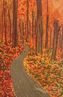 Autumn Scene Drawing - Foliage Drive  by Ishy Christine