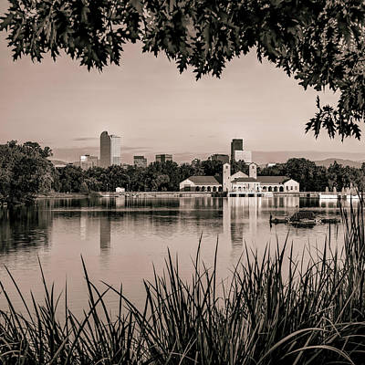 Photograph - Foliage Framed Denver Skyline Reflections - Square Format - Sepia by Gregory Ballos