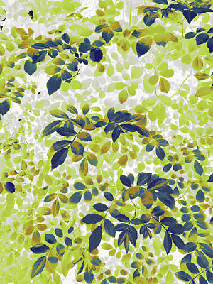 Digital Art - Foliage Hues - Green Blue And White by Shawna Rowe