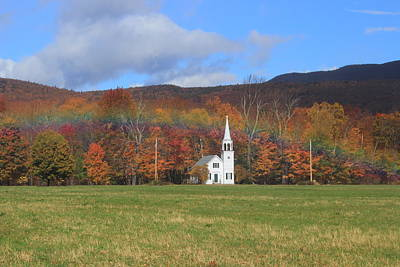 Photograph - Foliage Rainbow And Church Woncalancet New Hampshire by John Burk