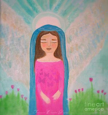 Folk Art Mixed Media - Folk Angel The Gaurdian by Sacred  Muse