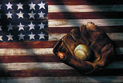 Weathered Photograph - Folk Art American Flag And Baseball Mitt by Garry Gay