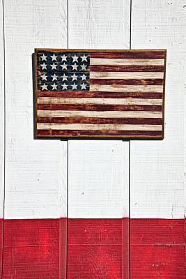 Folk Art American Flag On Wooden Wall Art Print by Garry Gay