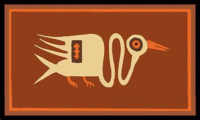 Digital Art - Folk Art Crane by Vagabond Folk Art - Virginia Vivier