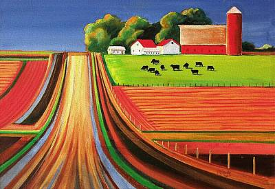 Silos Painting - Folk Art Farm by Toni Grote