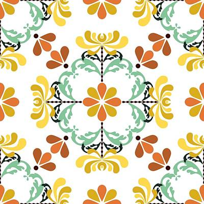 Digital Art - Folk Art Inspired Chrysanthemums Yellow And Orange by MM Anderson