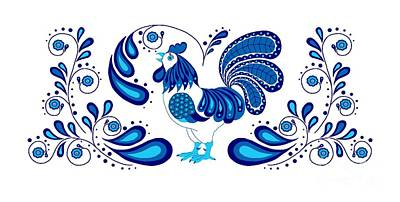 Digital Art - Folk Art Rooster In Blue by Ruanna Sion Shadd a'Dann'l Yoder