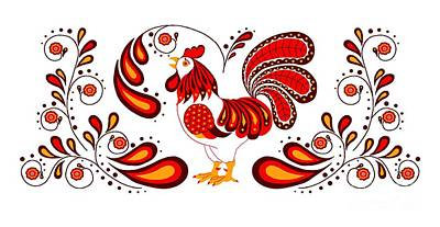 Digital Art - Folk Art Rooster In Red by Ruanna Sion Shadd a'Dann'l Yoder
