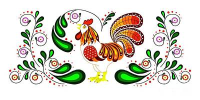Digital Art - Folk Art Rooster Multi Color by Ruanna Sion Shadd a'Dann'l Yoder