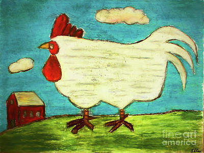 Painting - Folk Art Rooster by Tina LeCour