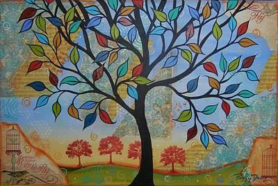 Folkart Mixed Media - Folk Art Tree by Peggy Davis