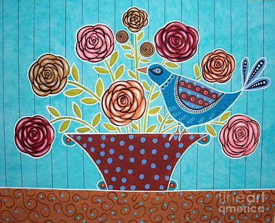 Folk Bird And Flowers Art Print by Karla Gerard