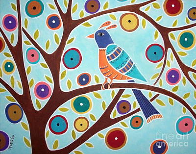 Primitive Folk Art Painting - Folk Bird In Tree by Karla Gerard