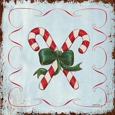 Christmas Greeting Painting - Folk Candy Cane by Debbie DeWitt