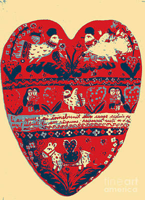 Ceramic Mixed Media - Folk Heart by Ana Dragan
