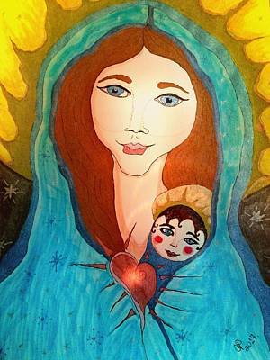 Painting - Folk Mother And Child by Christine Paris
