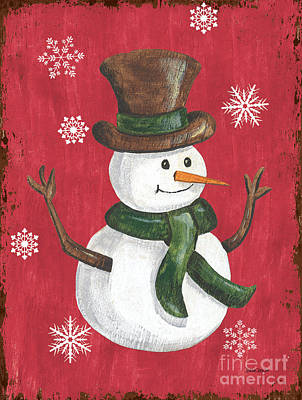 Christmas Greeting Painting - Folk Snowman by Debbie DeWitt