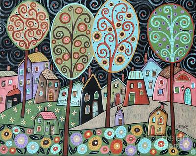 Folk Art Painting - Folk Village by Karla Gerard