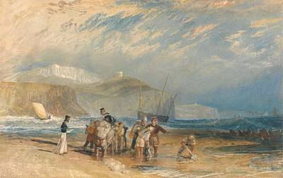 Folkestone Harbour Wall Art - Painting - Folkestone Harbour And Coast To Dover by Grypons Art