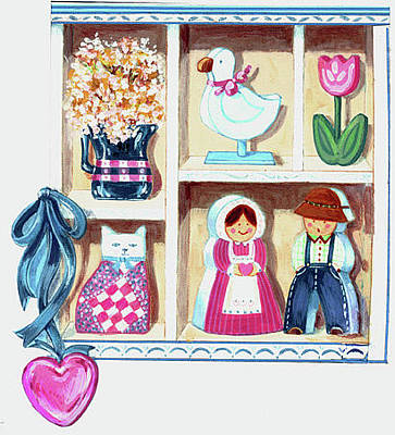 Amish Farms Mixed Media - Folksy Valentine by Linda Crockett