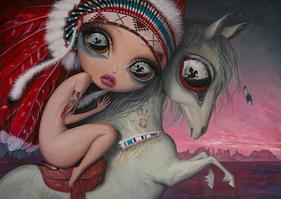 Big Eyed Girl Painting - Follow Me by Adrian Borda