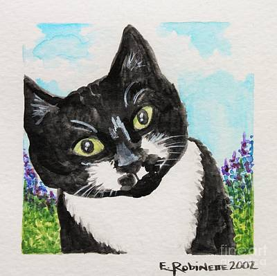Black And White Cat Painting - Follow Me Into The Garden by Elizabeth Robinette Tyndall
