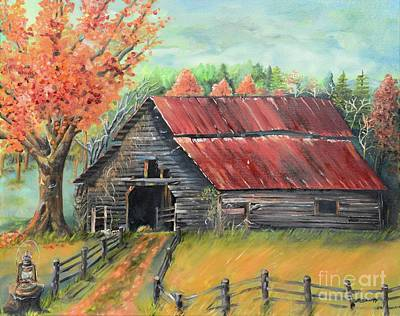 Painting - Follow The Lantern - Early Morning Barn- Anne's Barn by Jan Dappen