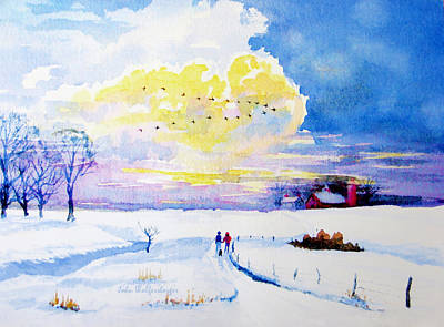 Red Barn In Winter Painting - Follow The Leader by John Wolfersberger