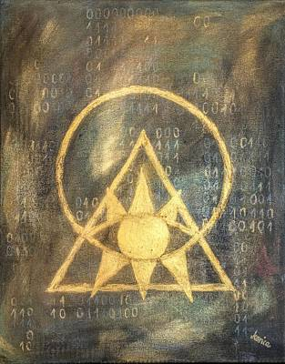 Surreal Art Painting - Follow The Light - Illuminati And Binary by Marianna Mills